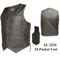 10 Pockets Vests In Split Cowhide Leather